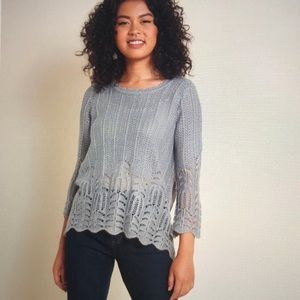 Modcloth Nostalgic Knits Scalloped Sweater in Grey
